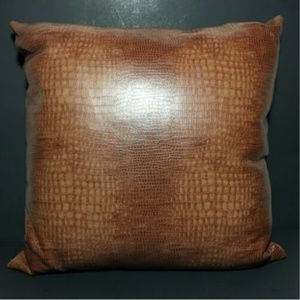 Faux Leather Crocodile Accent Pillow Down Feather